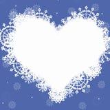 Marco azul con el corazón Imagen de archivo