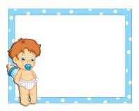 Marco azul con un niño masculino Foto de archivo