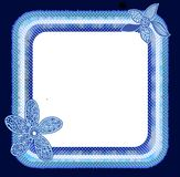 Marco azul de la flor de los lunares Imagen de archivo libre de regalías
