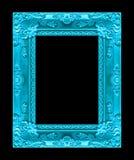 Marco azul de la imagen antigua aislado en el fondo negro, clippin Imagen de archivo