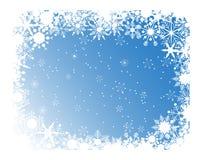 Marco azul de los copos de nieve Fotos de archivo