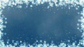 Marco azul de los copos de nieve del Año Nuevo almacen de video
