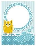 Marco azul del libro de recuerdos del búho del bebé Fotografía de archivo libre de regalías