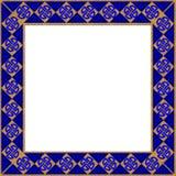 Marco azul del oro Imagen de archivo libre de regalías