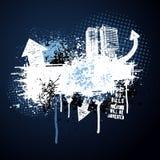 Marco azul marino de la ciudad del grunge ilustración del vector