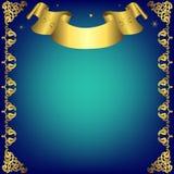 Marco azul marino de la Navidad con la cinta de oro Imagen de archivo
