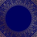 Marco azul oriental con el ornamento del oro stock de ilustración