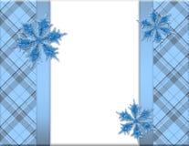 Marco azul y blanco del copo de nieve Fotos de archivo