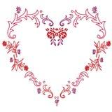 Marco bastante floral del corazón Foto de archivo