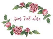 Marco bilateral hecho de rosas florecientes rosadas ilustración del vector
