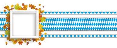 Marco blanco Autumn Foliage Bavarian Ribbons Header stock de ilustración