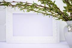 Marco blanco con las ramas del sauce verde en un fondo rosado Espacio de la copia en el centro para su texto foto de archivo libre de regalías
