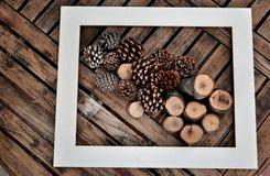 marco blanco con los conos y los haces del pino Fotos de archivo libres de regalías