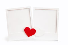 Marco blanco con los corazones Fotos de archivo