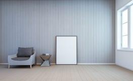 Marco blanco del arte en la pared en sala de estar Fotografía de archivo libre de regalías