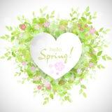 Marco blanco del corazón con la primavera del texto hola ilustración del vector