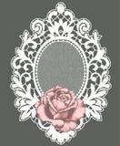 Marco blanco del cordón El color de rosa se levantó libre illustration