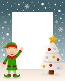 Marco blanco del árbol de la Navidad y duende verde Imágenes de archivo libres de regalías