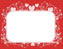 Marco blanco rojo del día de tarjeta del día de San Valentín de los corazones Fotografía de archivo