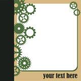 Marco blanco y engranajes verdes Imagen de archivo