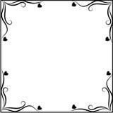 Marco blanco y negro con el ornamento de los corazones Imagen de archivo