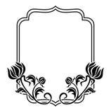 Marco blanco y negro con las siluetas de las flores Clip art de la trama Imagen de archivo