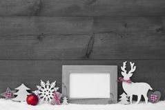 Marco blanco y negro de la nieve de la decoración de la Navidad Fotografía de archivo libre de regalías