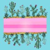 Marco brillante de cactus Estilo del mosaico Dise?o ex?tico libre illustration