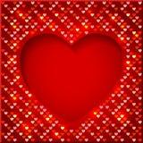 Marco brillante del día de tarjeta del día de San Valentín con los corazones brillantes Fotografía de archivo