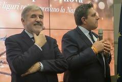 Marco Bucci en Giovanni Toti stock fotografie