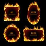 Marco caliente de la llama del fuego en el fondo negro ilustración del vector