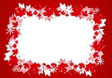 Marco canadiense de la frontera de la Navidad de la hoja de arce Imágenes de archivo libres de regalías