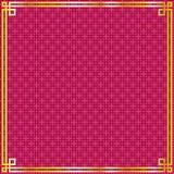 Marco chino del oro en fondo del modelo del cuadrado rojo Foto de archivo