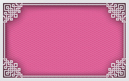 Marco chino del rectángulo en el fondo oriental del modelo rosado para la decoración de la tarjeta de felicitación Fotos de archivo libres de regalías