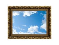 Marco/cielo del oro Imagen de archivo libre de regalías