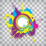Marco circular lindo del grunge en un fondo ajustado ilustración del vector