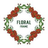 Marco color de rosa rojo de la flor de la muchedumbre del ejemplo del vector hermoso para el fondo stock de ilustración