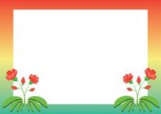 Marco coloreado con las flores rojas Imagen de archivo libre de regalías