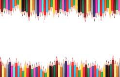 Marco coloreado de los lápices Fotografía de archivo