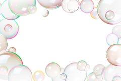 Marco colorido de las burbujas de jabón stock de ilustración
