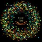 Marco colorido de las luces de la Navidad Imagen de archivo libre de regalías
