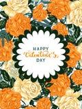 Marco colorido de las rosas del vintage en un fondo blanco Foto de archivo libre de regalías