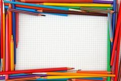 Marco colorido de los lápices Foto de archivo libre de regalías