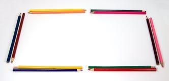 Marco colorido de los lápices como rectángulo Imagen de archivo