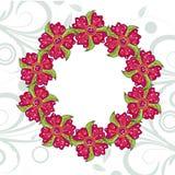 Marco colorido dibujado mano de la guirnalda de la flor Imágenes de archivo libres de regalías