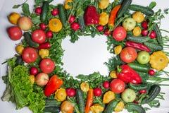 Marco colorido hecho de verduras y de hierbas en el fondo blanco fotografía de archivo libre de regalías