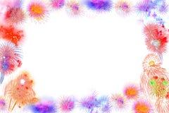 Marco colorido hermoso de la exhibición del fuego artificial, nuevo feliz de la celebración Foto de archivo