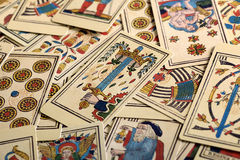 Marco completo de cartas de tarot Imagen de archivo libre de regalías