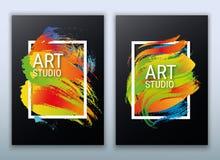 Marco con estilo Colores espectrales brillantes Textura de Grunge Las manchas son tiza Las formas geométricas y la pintura salpic stock de ilustración