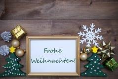 Marco con la decoración, Feliz Navidad mala de Frohe Weihnachten Imágenes de archivo libres de regalías